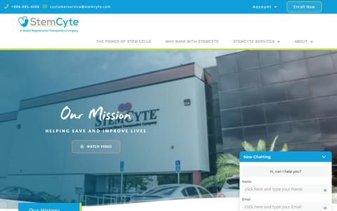 Screenshot of About Page stemcyte.com - About - StemCyte - captured Dec. 12, 2019