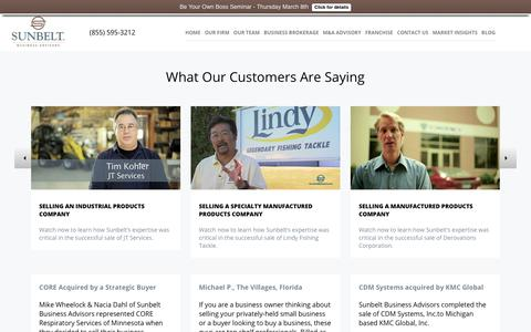 Screenshot of Testimonials Page sunbeltmidwest.com - Testimonials - Sunbelt Midwest - captured Feb. 27, 2018