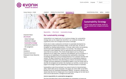 Evonik Industries - Specialty chemicals - Corporate responsibility strategy - Evonik Industries - Specialty Chemicals