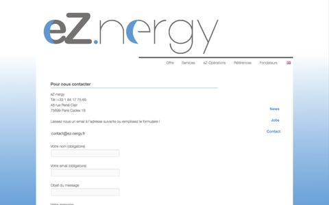 Screenshot of Contact Page ez-nergy.fr - Contact | eZ-nergy | 24-7 dispatch and software for energy markets - captured Oct. 3, 2014