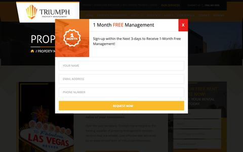 Screenshot of Pricing Page triumphpropertymanagement.com - Property Management Services in Las Vegas | Triumph Management - captured Oct. 20, 2018