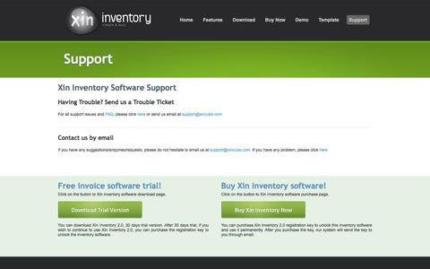 Screenshot of Support Page xininventory.com - simple invoice software, billing software, quotation software - captured May 21, 2016