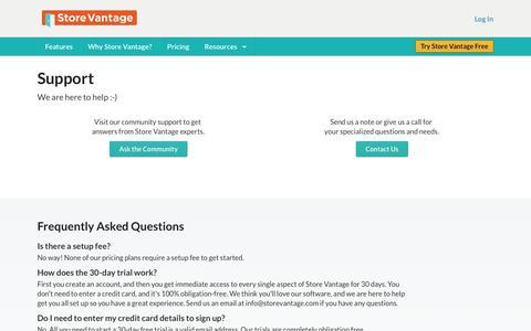 Screenshot of Support Page storevantage.com - Business Calendar Software - Online Customer Relationship Management Tools - captured Sept. 17, 2014