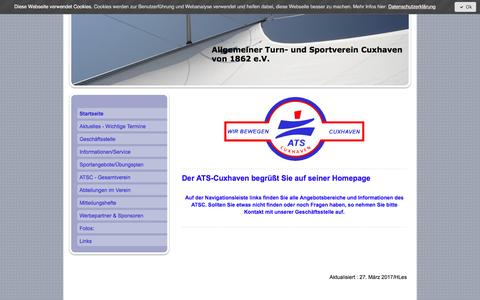 Screenshot of Home Page ats-cuxhaven.de - Turn- und Sportverein Cuxhaven e.V. - ATS Cuxhaven - captured April 1, 2017