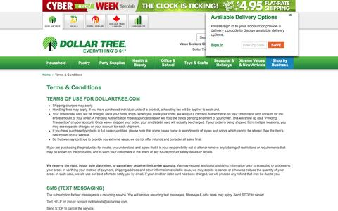 Dollar Tree, Inc.: Terms & Conditions