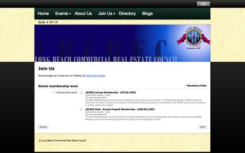 Screenshot of Signup Page lbcrec.com - Long Beach Commercial Real Estate Council - Join Us - captured Oct. 3, 2014