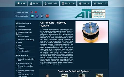 Screenshot of Products Page atitelemetry.com - ATi Rotating Telemetry Products | Advanced Telemetrics International - captured Feb. 5, 2016