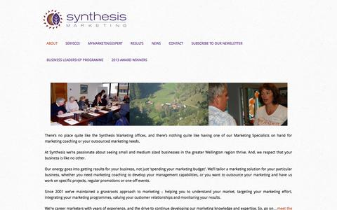 Screenshot of About Page synthesis.co.nz - About Us - captured Oct. 7, 2014