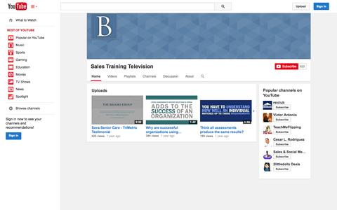 Screenshot of YouTube Page youtube.com - Sales Training Television  - YouTube - captured Nov. 2, 2014