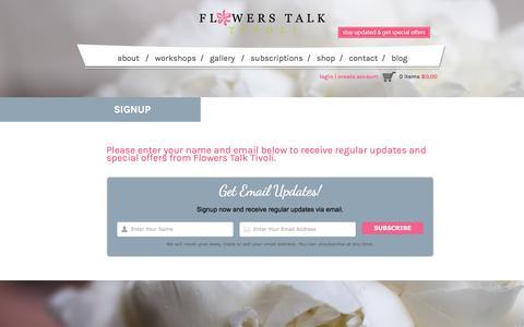 Screenshot of Signup Page flowerstalk.ca - Signup - Flowers Talk TivoliFlowers Talk Tivoli - captured Feb. 10, 2016
