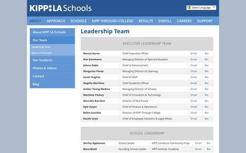 Screenshot of Team Page kippla.org - Leadership Team - captured Nov. 27, 2016