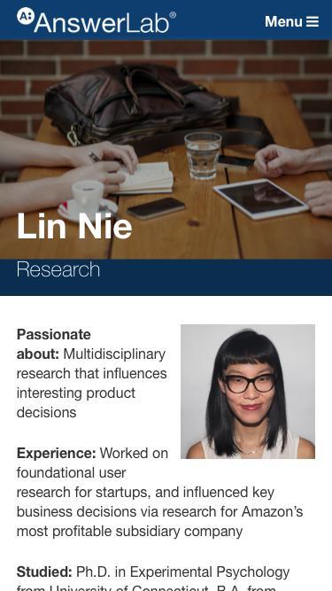 Screenshot of Team Page  answerlab.com - Lin Nie
