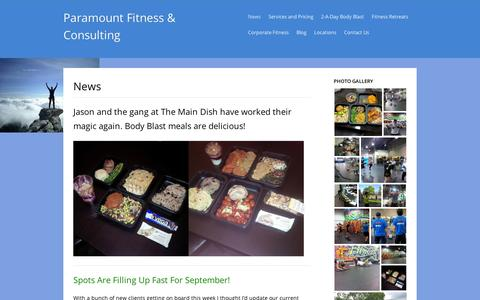 Screenshot of Press Page wordpress.com - Paramount Fitness & Consulting - captured Sept. 12, 2014