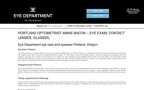 Screenshot of Services Page eyedepartment.com - Eye Exam Portland | Contact Lens Exam | Portland Eye Clinic - captured July 24, 2018