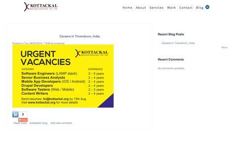 Screenshot of Blog kottackal.org - Blog | Kottackal Home: Product Development for the web, Made Easy - captured Oct. 27, 2014