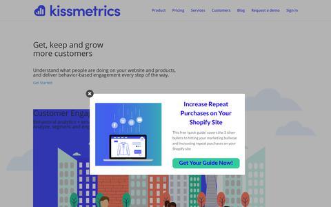 Screenshot of Home Page kissmetrics.com - Kissmetrics | Behavioral Customer Engagement Automation - captured April 19, 2018