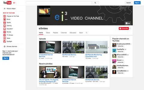 Screenshot of YouTube Page youtube.com - ei3video  - YouTube - captured Oct. 22, 2014