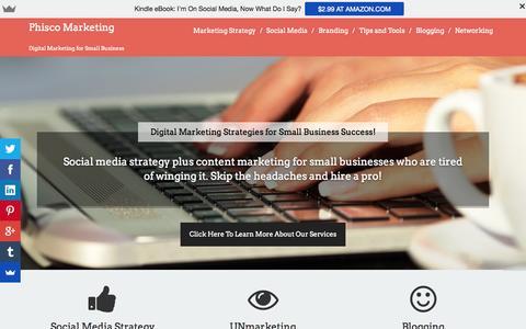 Screenshot of Home Page phiscomarketing.com - Phisco Marketing | Marketing and Social Media Strategy | Atlanta, GA - captured July 21, 2015