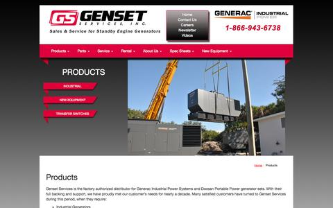 Screenshot of Products Page gensetservices.com - Products | Genset Services, Inc.Genset Services, Inc. - captured Oct. 2, 2014