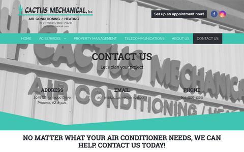 Screenshot of Contact Page cactusmechanical.com - Contact Us - Cactus Mechanical - captured Sept. 26, 2018