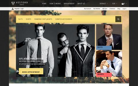 Screenshot of Home Page vestoro.com - VESTORO | Tailored suits, Tailored shirts, Suit Jackets, Overcoats from Master Tailors trained in Savile row, London - captured Sept. 30, 2014