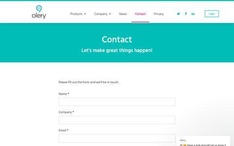Screenshot of Contact Page olery.com - Olery says… - captured Nov. 4, 2018