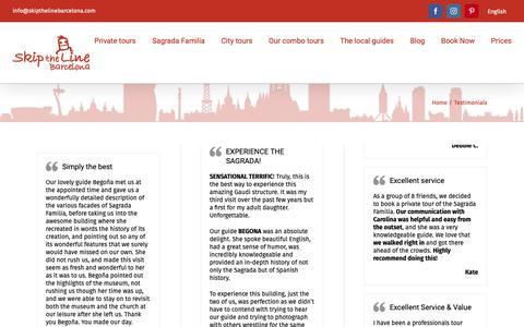Screenshot of Testimonials Page skipthelinebarcelona.com - Testimonials - Skip The Line Barcelona - captured Dec. 11, 2018