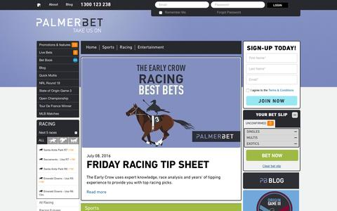 Screenshot of Blog palmerbet.com - Sports Betting | Horse Racing Betting - captured July 10, 2016