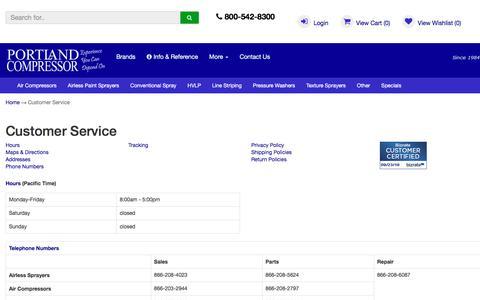 Screenshot of Support Page portlandcompressor.com - Portland Compressor Customer Service Department and Information - captured Sept. 24, 2018