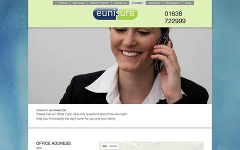 Screenshot of Contact Page eunisure.co.uk - Contact US - captured Nov. 11, 2016