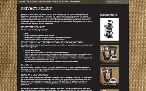 Screenshot of Privacy Page beanify.com - Privacy Policy - captured Oct. 5, 2014