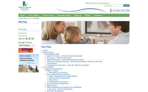 Screenshot of Site Map Page hightownha.org.uk - Hightown Praetorian & Churches Website - captured Oct. 2, 2014