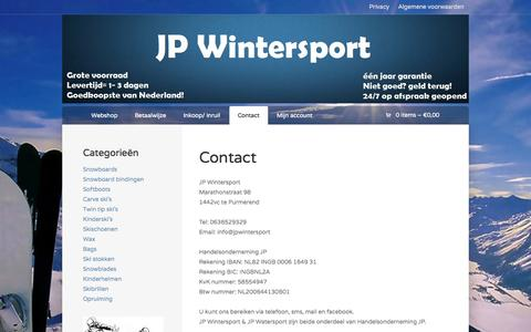 Screenshot of Contact Page jpwintersport.nl - Contact | JP Wintersport | - captured Sept. 30, 2014