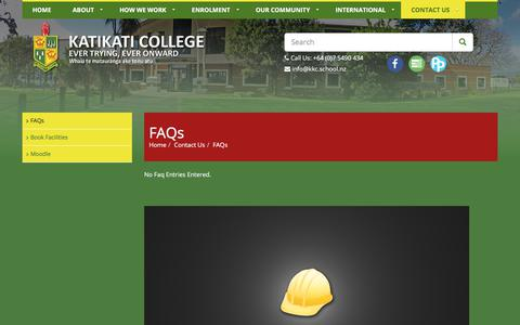 Screenshot of FAQ Page kkc.school.nz - Katikati College :: FAQs - captured Oct. 17, 2017
