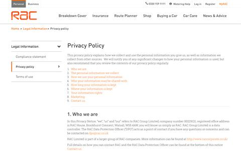 Privacy Policy & Data Protection | RAC