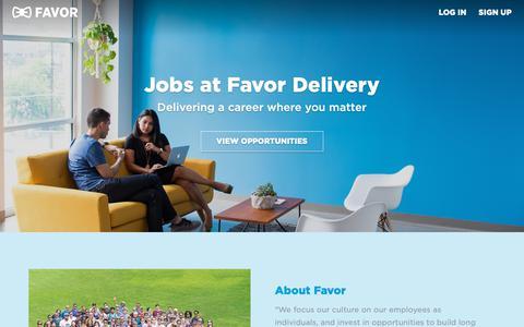 Screenshot of Jobs Page favordelivery.com - Careers - captured Dec. 5, 2018