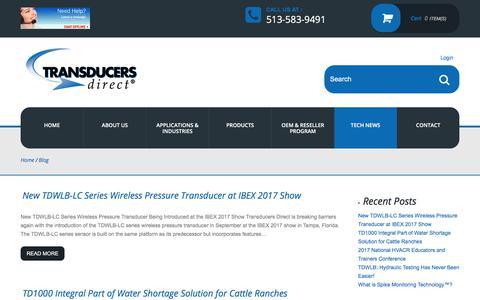 Screenshot of Blog transducersdirect.com - Blog - Pressure Transducers, Pressure Sensors: Transducers Direct - captured Nov. 8, 2017