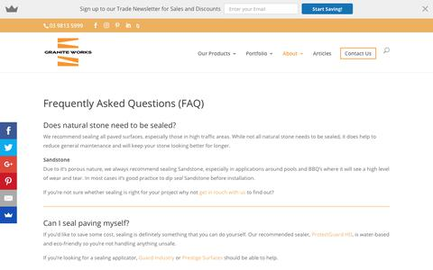 Screenshot of FAQ Page graniteworks.com.au - Frequently Asked Questions | Bluestone, Travertine & Granite Paving - captured July 23, 2018