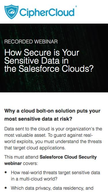 How Secure is Your Sensitive Data in the Salesforce Clouds? | CipherCloud