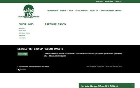 Screenshot of Press Page eia-usa.org - Environmental Information Association - Press Releases - captured Sept. 28, 2018