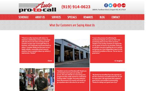 Screenshot of Testimonials Page autoprotocall.com - Auto Repair Reviews – Chapel Hill, Carrboro, Durham – Auto Pro To Call - captured Sept. 30, 2014