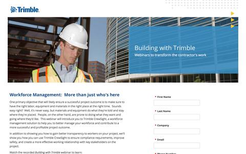 Screenshot of Landing Page trimble.com captured Sept. 11, 2017