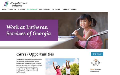 Screenshot of Jobs Page lsga.org - Work At LSG — Lutheran Services of Georgia - captured Nov. 15, 2016