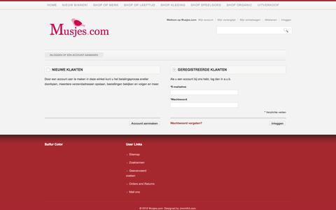 Screenshot of Login Page musjes.com - Klant-login - captured Oct. 26, 2014