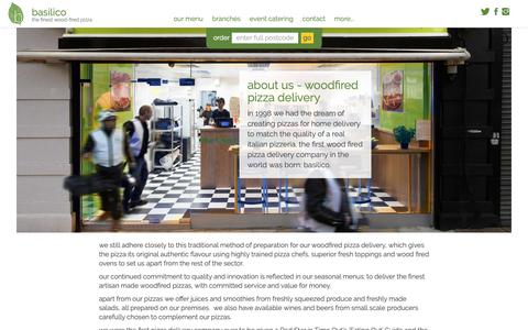 Screenshot of About Page basilico.co.uk - About Us - Basilico, Woodfired Pizza Delivery - captured Nov. 8, 2018