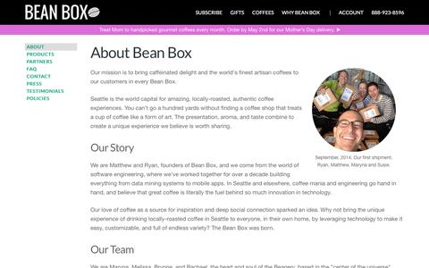 Screenshot of About Page beanbox.co - Coffee Subscriptions and Gifts from Seattle | Bean Box - captured April 14, 2016