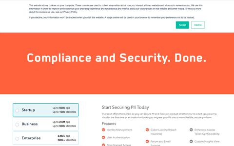 Screenshot of Pricing Page truevault.com - Features and Pricing - TrueVault - TrueVault - captured Nov. 29, 2018
