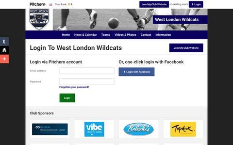 Screenshot of Login Page pitchero.com - West London Wildcats - captured June 11, 2016
