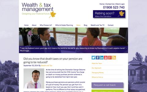 Screenshot of Press Page wealthandtax.co.uk - News - Wealth and Tax Management - captured Oct. 1, 2014