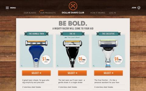 Screenshot of Signup Page dollarshaveclub.com - Razor Blades for Men Shipped Right To Your Door | Dollar Shave Club - captured Oct. 28, 2014